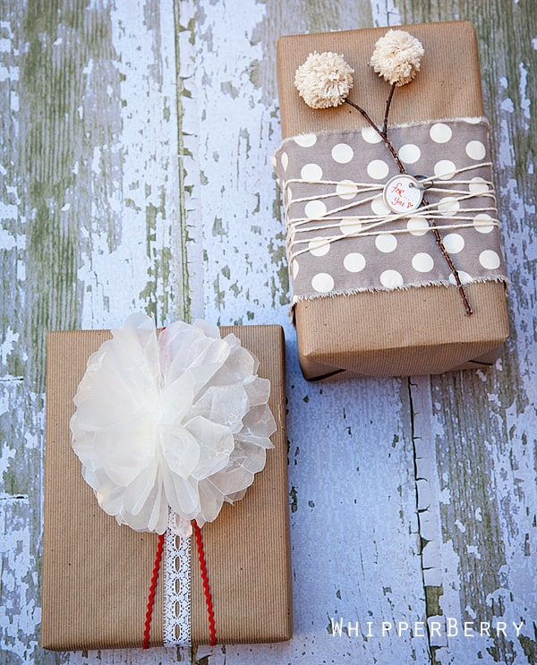 DIY embellished brown paper gift wrap