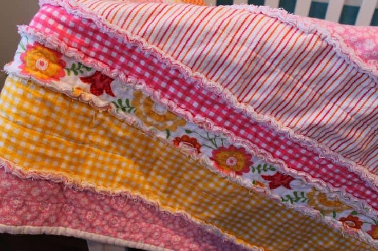 DIY flannel rag carseat quilt