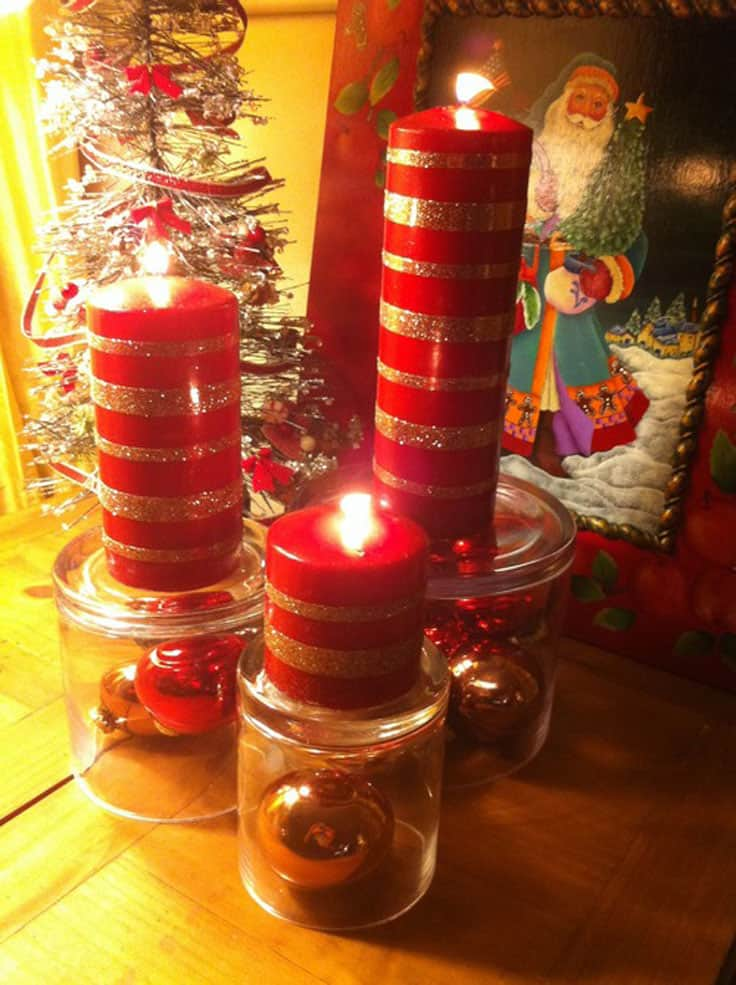 DIY glitter striped Christmas candles