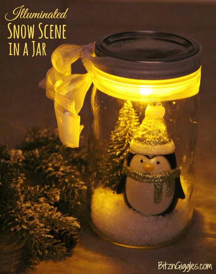 DIY illuminated snow globe in a jar
