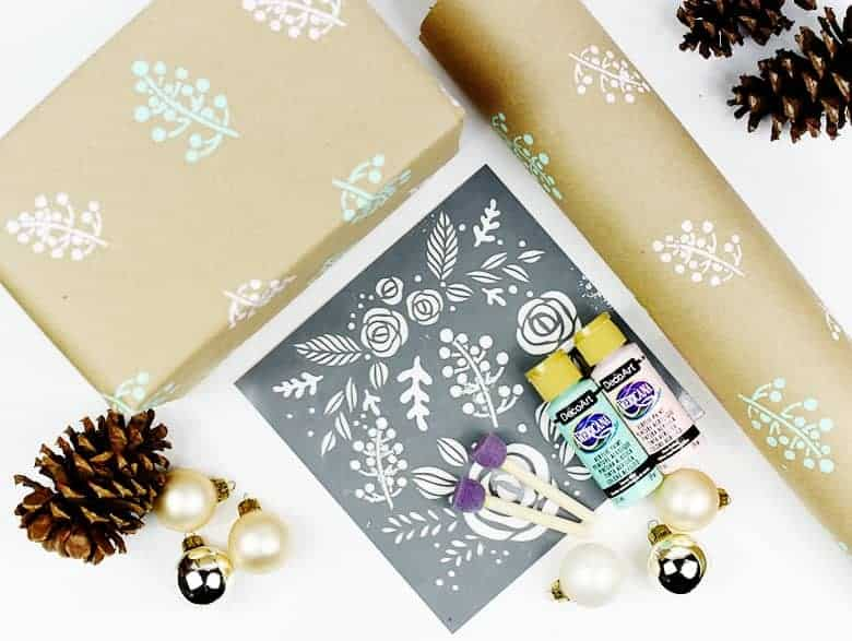 DIY paint stencilled wrapping paper