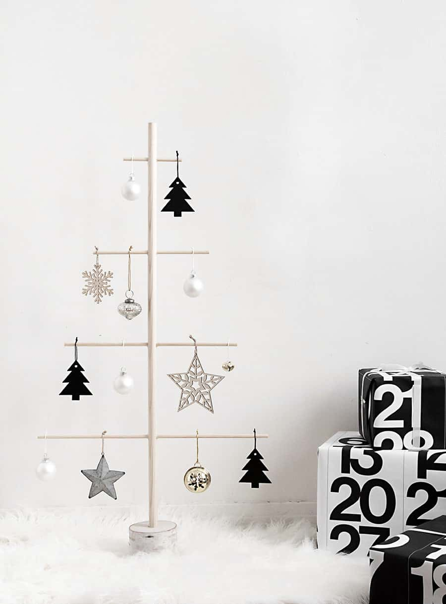 DIY wooden dowel and ornaments tree 15 Homemade Alternative Christmas Trees That Are Striking