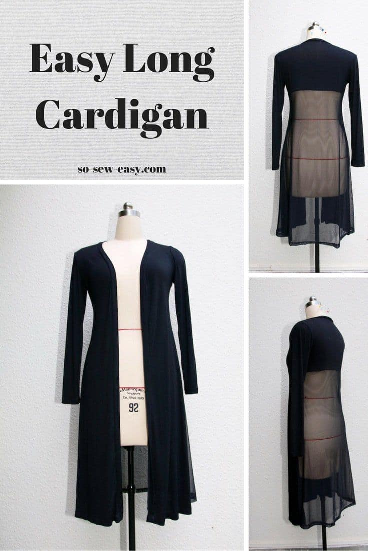 Easily sewn long sheer cardigan 15 Easy Winter Sweaters to Sew, Knit, and Crochet