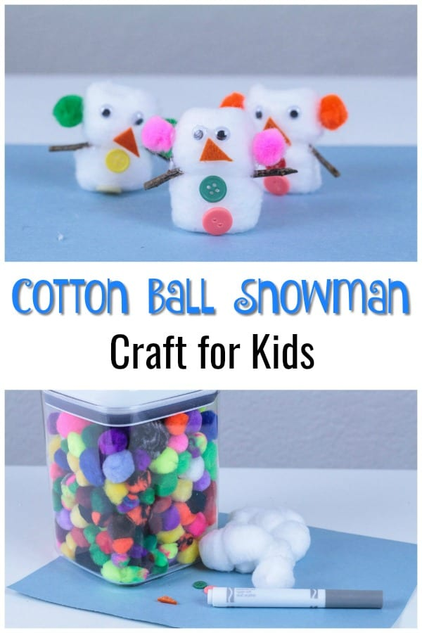 Easy cotton ball snowman craft