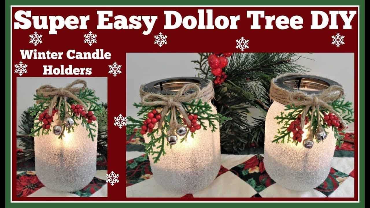 Easy dollar store winter candle holders