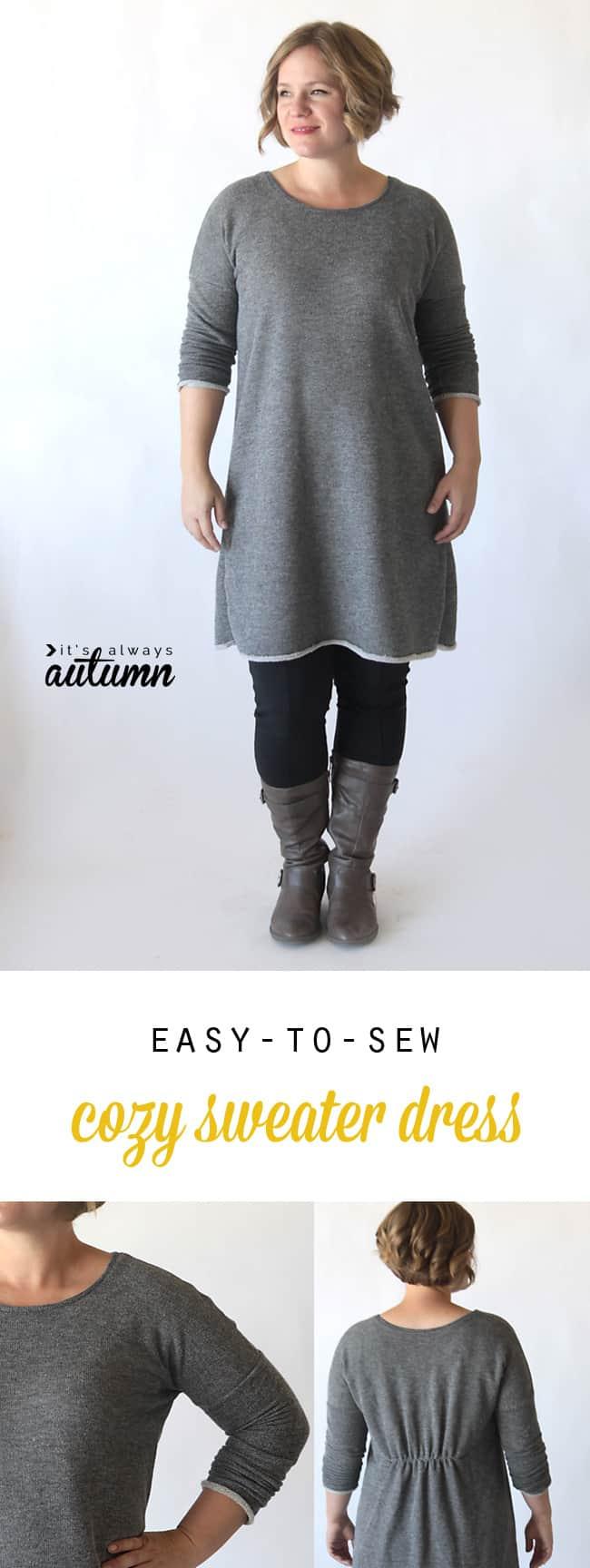 Easy-to-sew cozy sweater dress