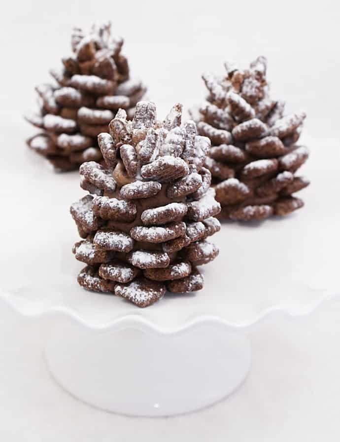 Edible snowy chocolate pinecone recipe