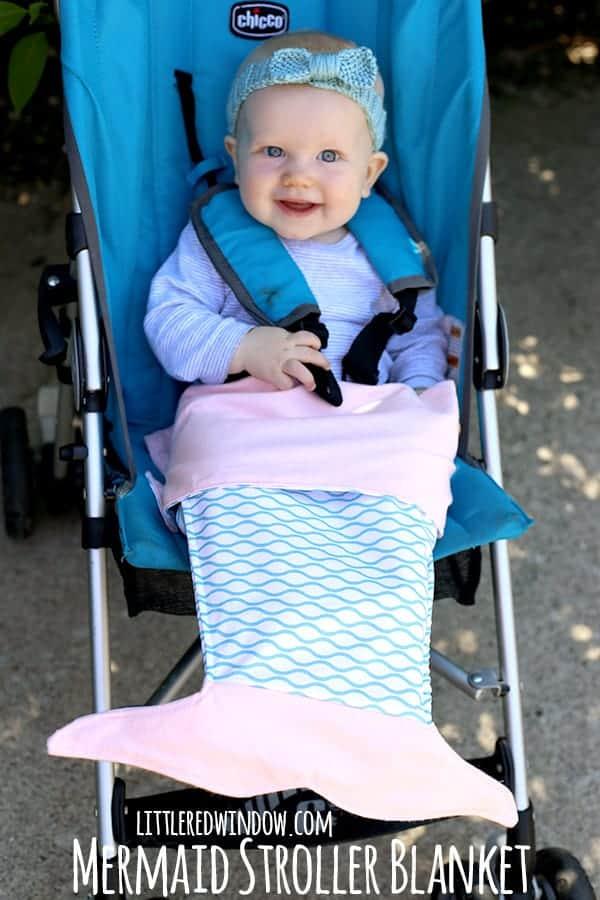 Fabric mermaid tail stroller blanket