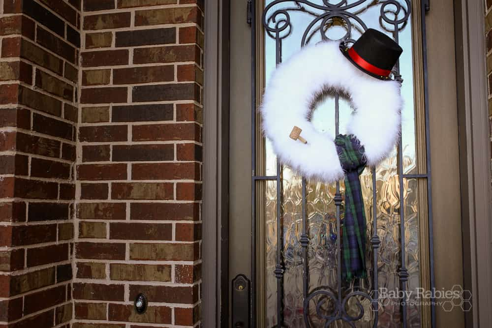Festive furry snowman wreath