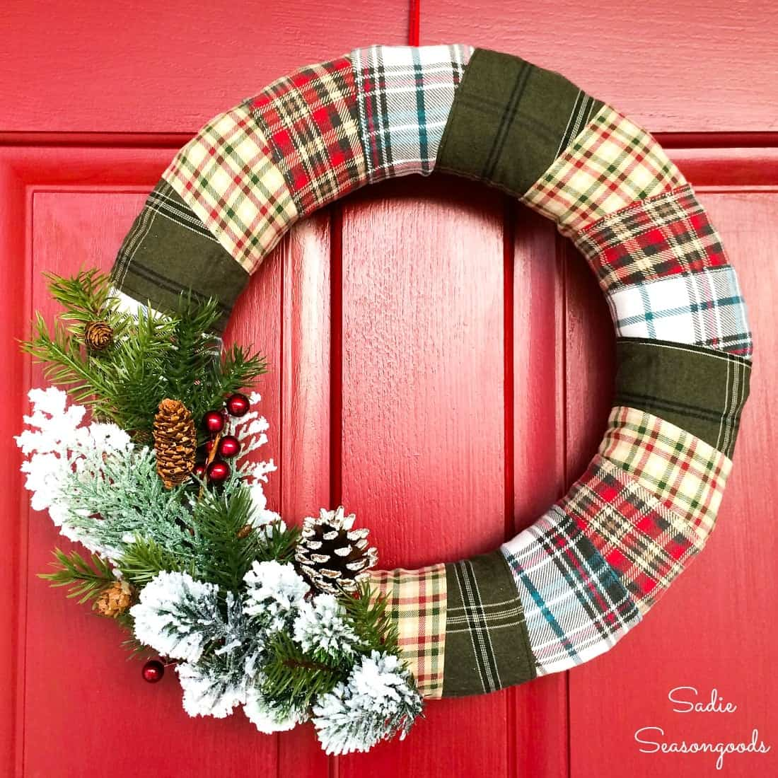 Flannel wrapped door wreath