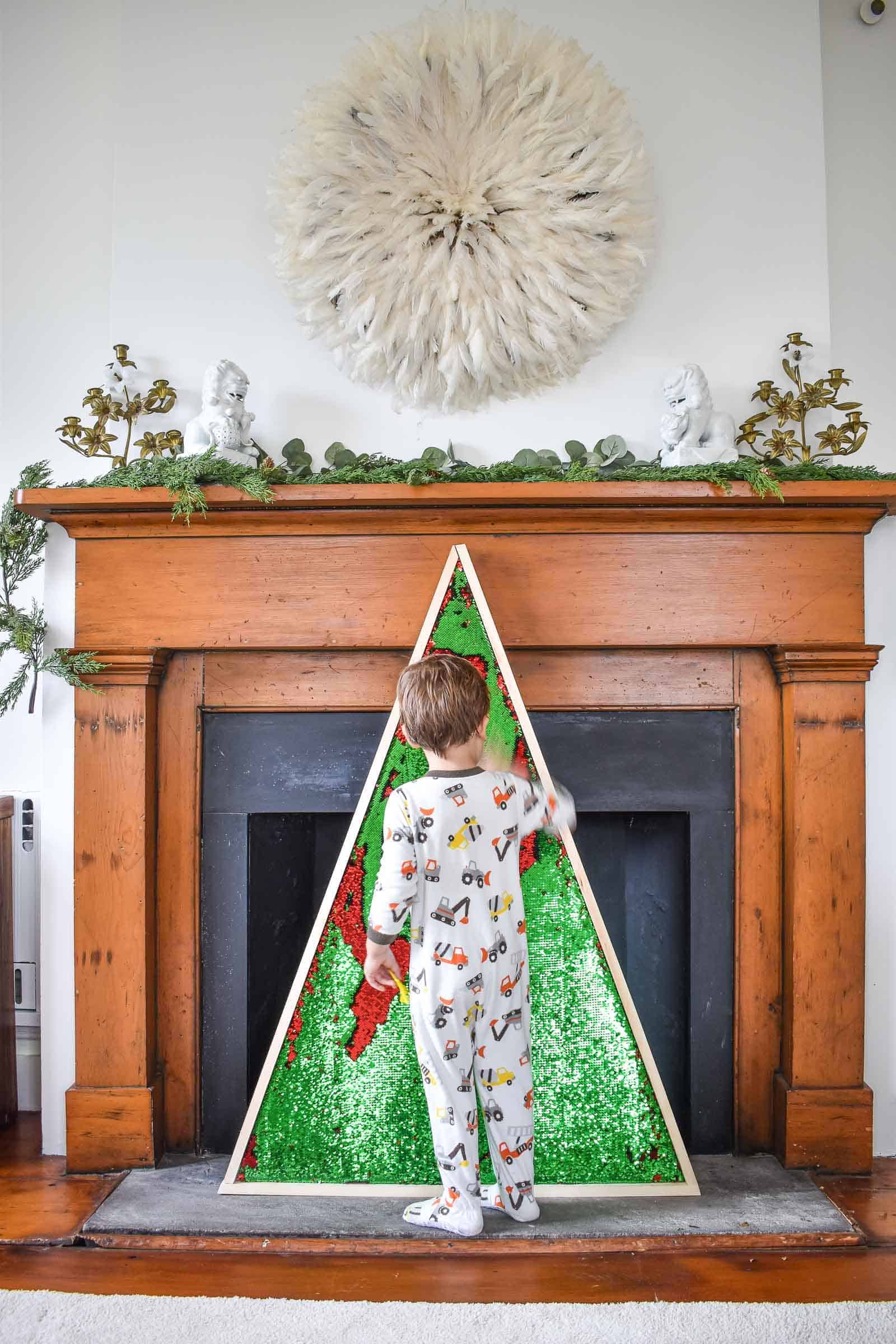 Flip sequin wood framed Christmas tree