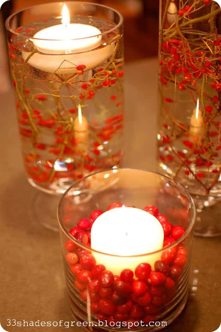 Floating candles with fresh red berries