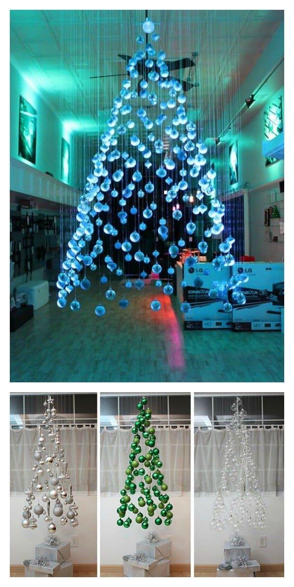 Floating ornament mobile Christmas tree