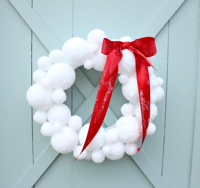 Foam snowball wreath