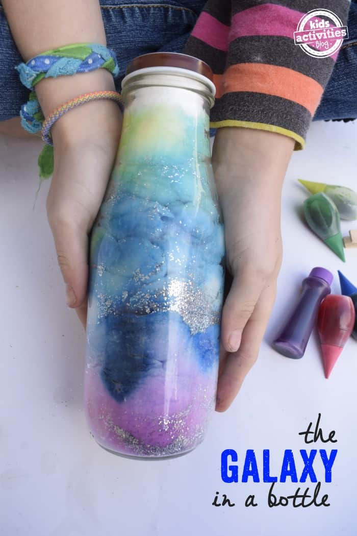 Galaxy in a bottle cotton ball craft