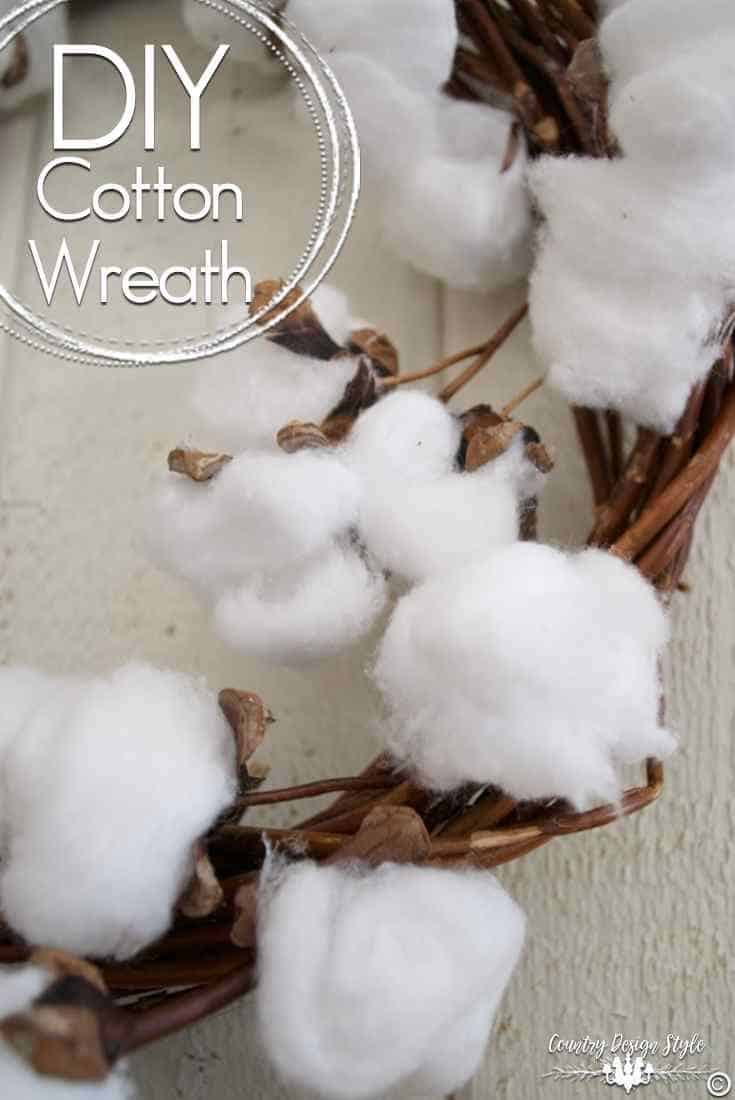 Grapevine and cotton wreath 15 Winter Projects Made with Cotton Balls