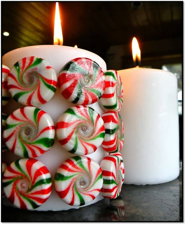 Holiday peppermint candy candle