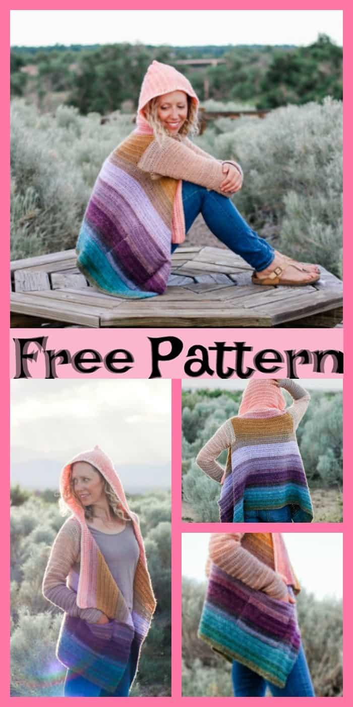 Hooded Remix cardigan crochet pattern