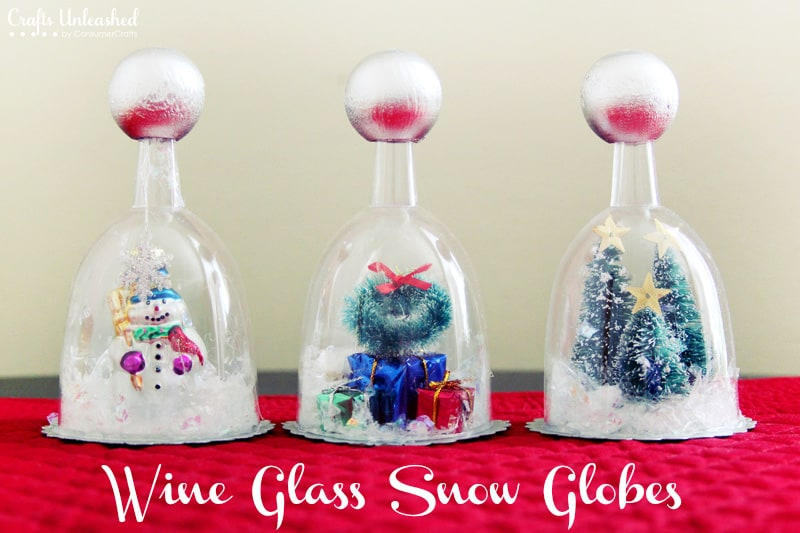 Kid-friendly wine glass snow globes with plastic glasses