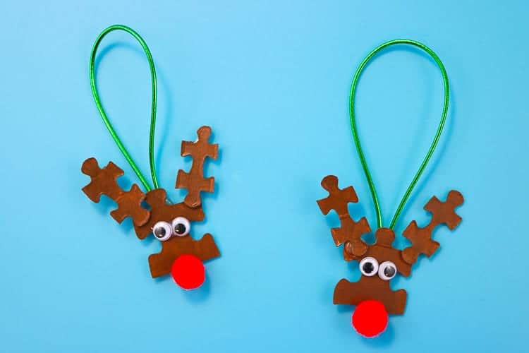 Kids' puzzle piece reindeer ornament