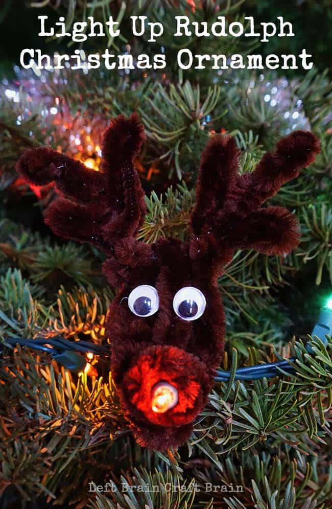 Light up pipe cleaner Rudolph Christmas ornaments 15 Best Reindeer Crafts for Kids