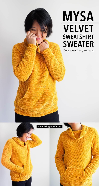 Mysa velvet sweatshirt crochet pattern