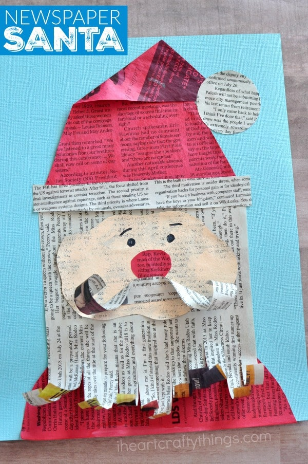 Newspaper Santa Claus craft