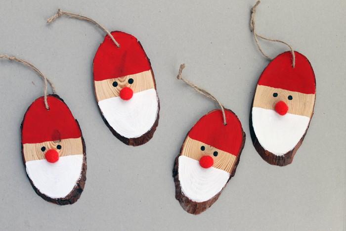 Painted wood slice Santa ornament
