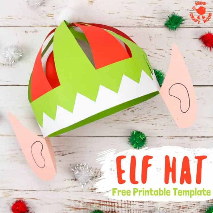Paper elf hat with ears and a template