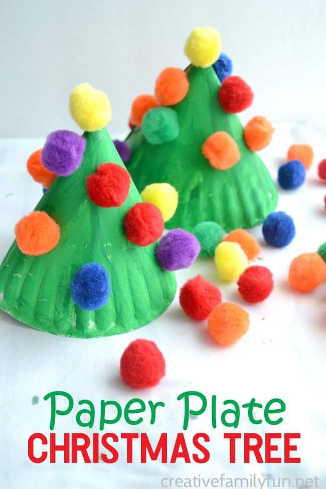 Paper plate and pom pom Christmas tree