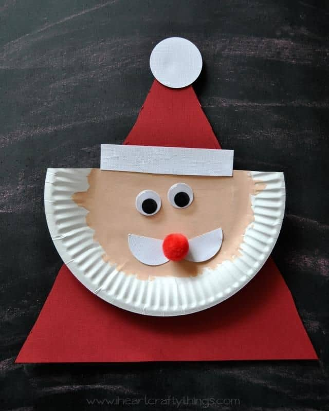 Paper plate triangle Santa Claus 15 DIY Santa Crafts. Kids Could Do
