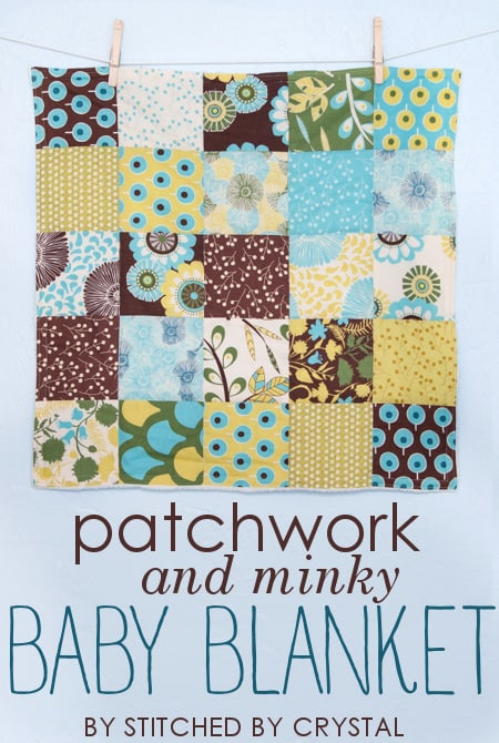 Patchwork and minky stroller blanket