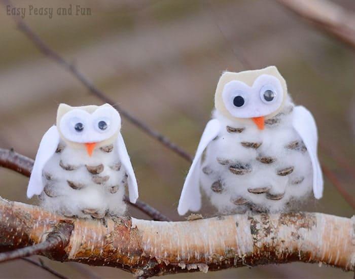 Pinecone winter cotton ball owls