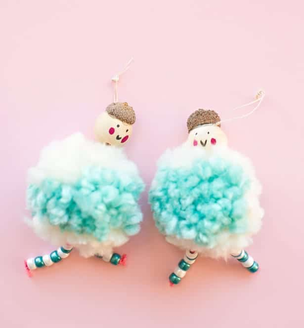Pom pom and acorn doll ornaments