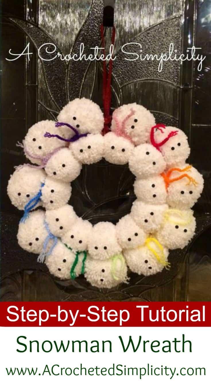 Pom pom snowman wreath