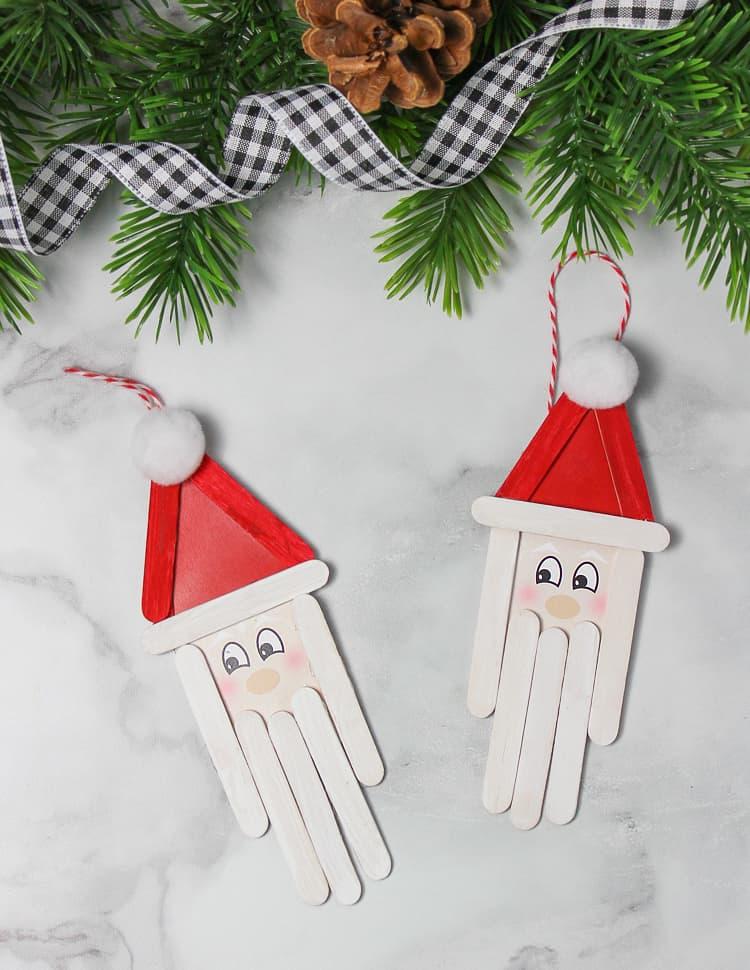 Popsicle stick Santa ornament