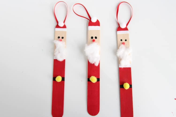 Popsicle stick Santa ornaments 15 DIY Santa Crafts. Kids Could Do