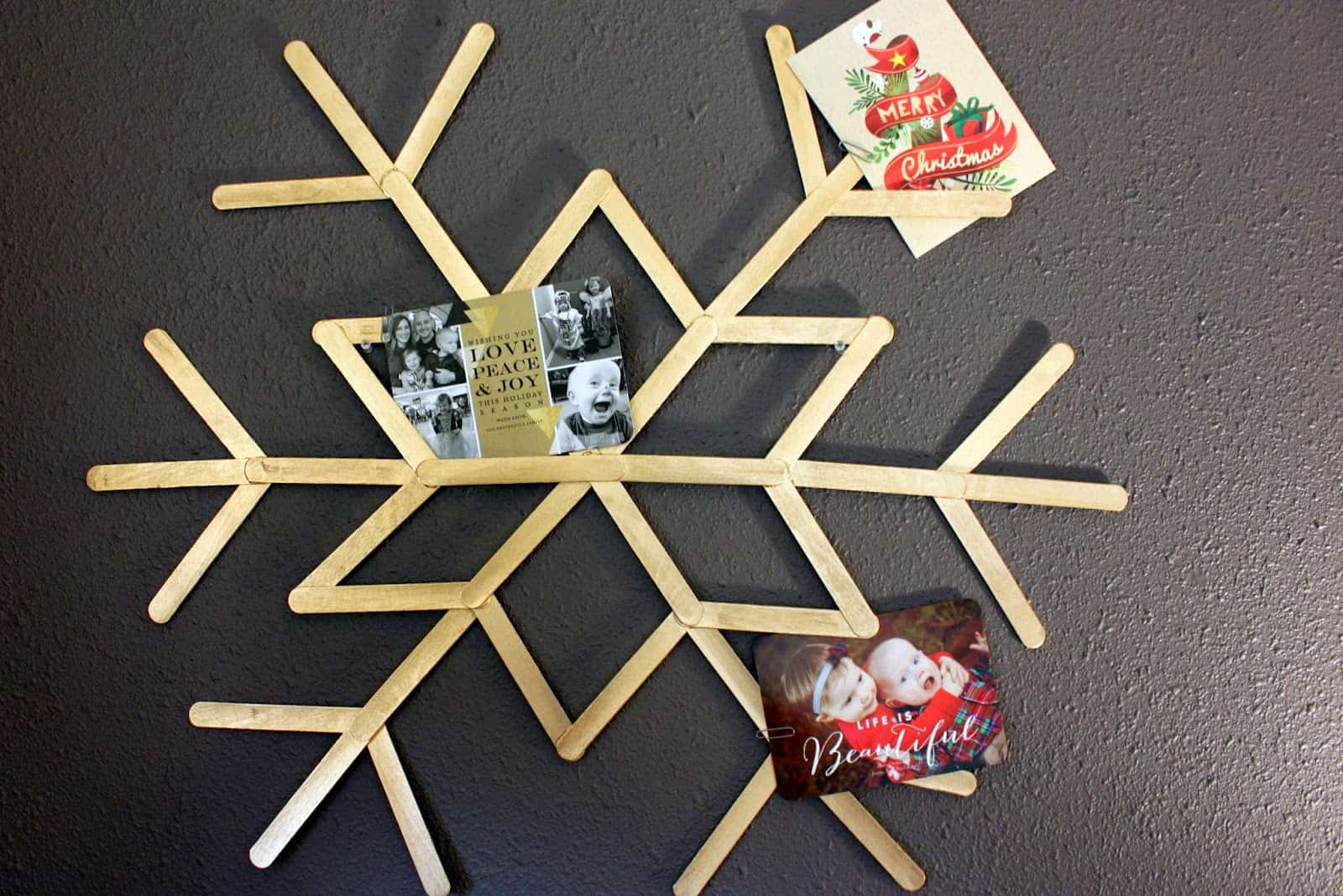 Popsicle stick snowflake Christmas card display