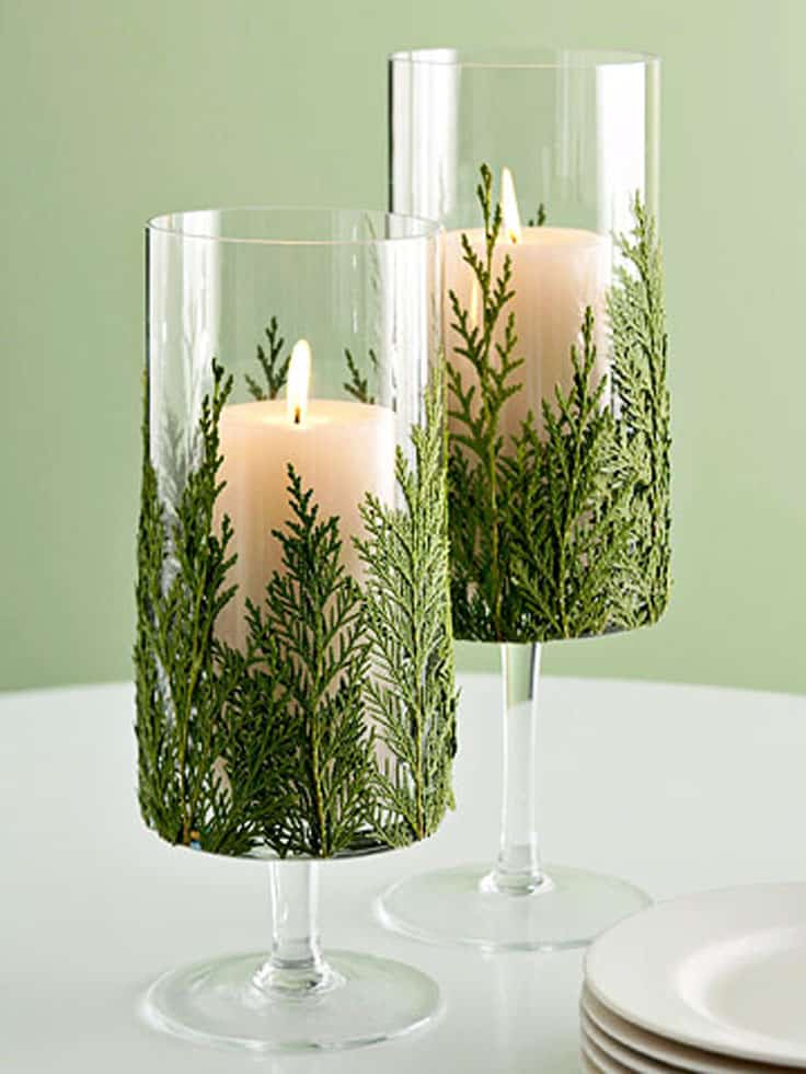 Pretty evergreen winter candles