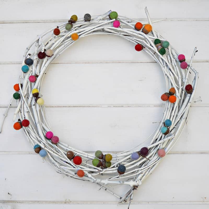Pretty felted acorn wreath