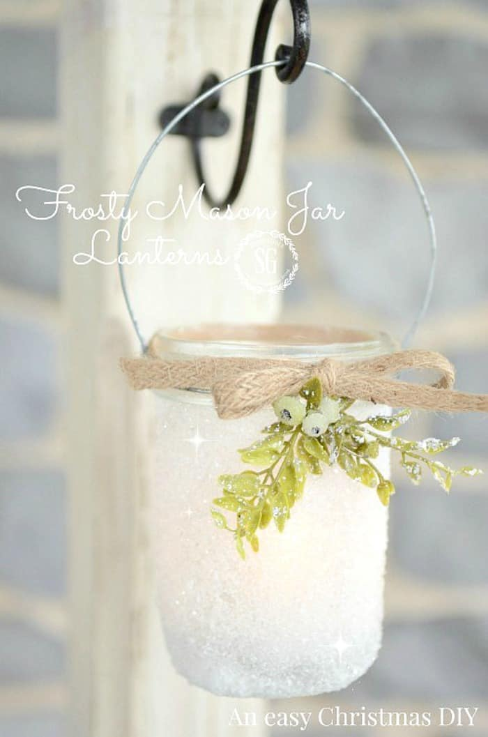 Pretty frosty mason jar hanging lantern 15 DIY Winter Lantern Projects for Your Home