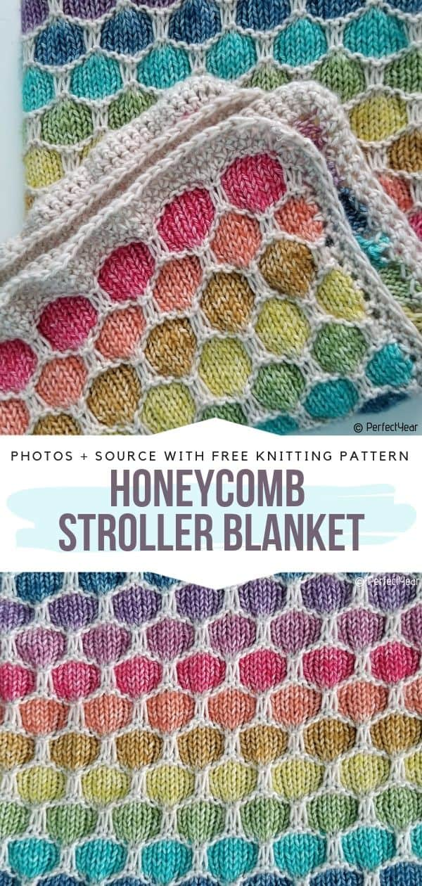 Pretty knitted honeycomb stroller blanket