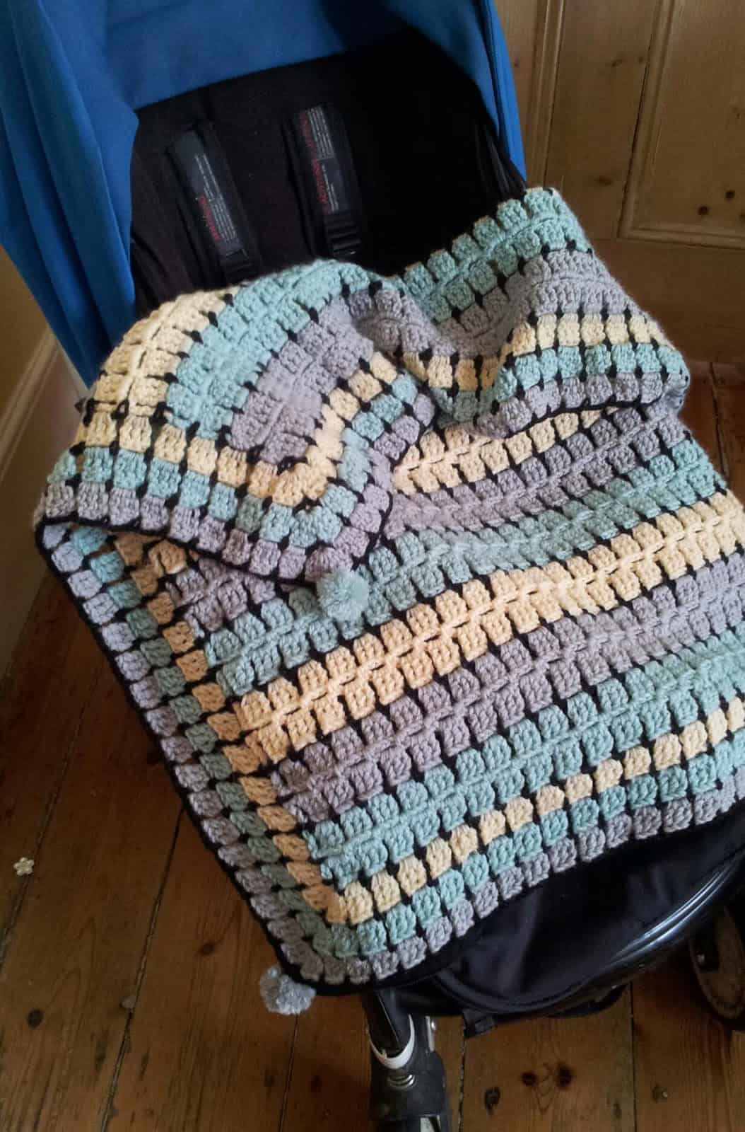 Retro crocheted baby buggy blanket