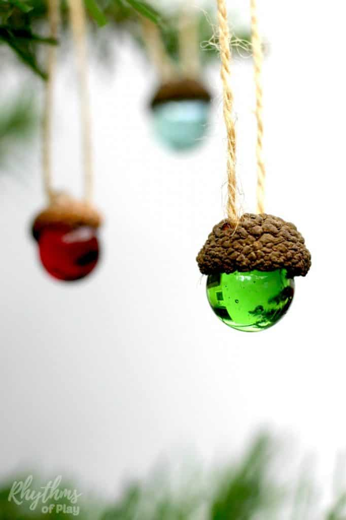 Rustic acorn and marble ornaments