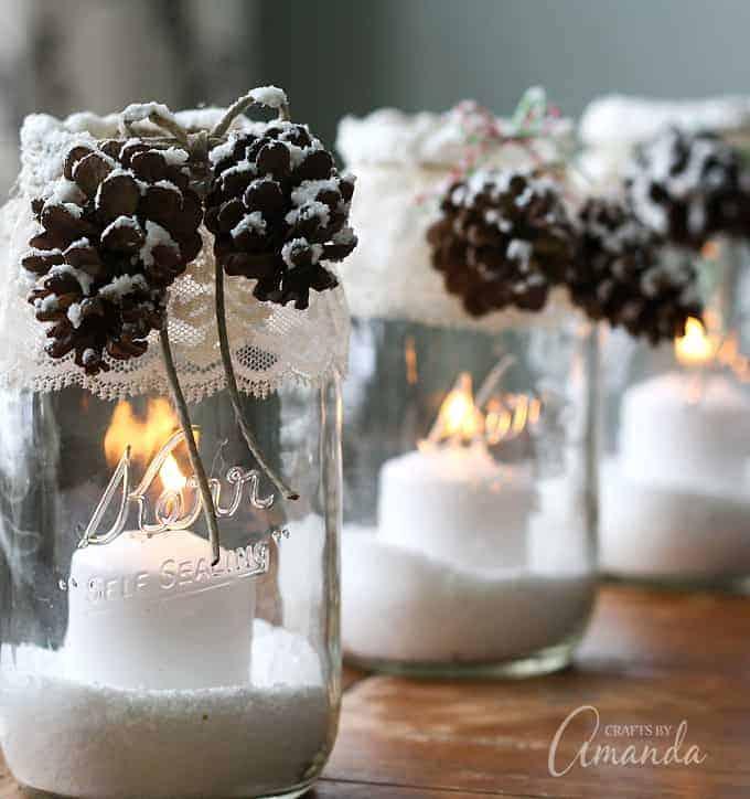 Snowy pinecone candle lanterns