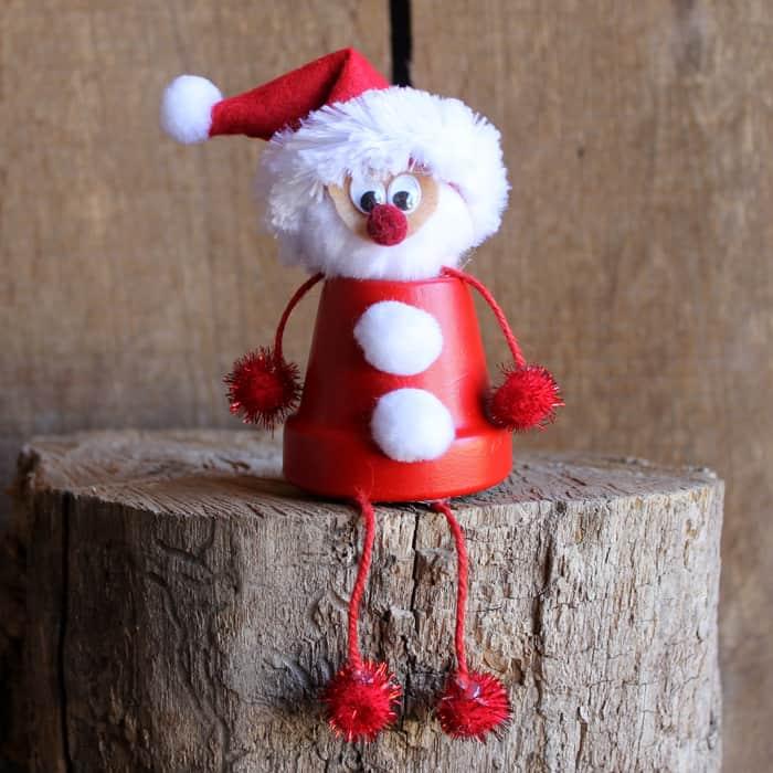 Terra cotta pot Santa