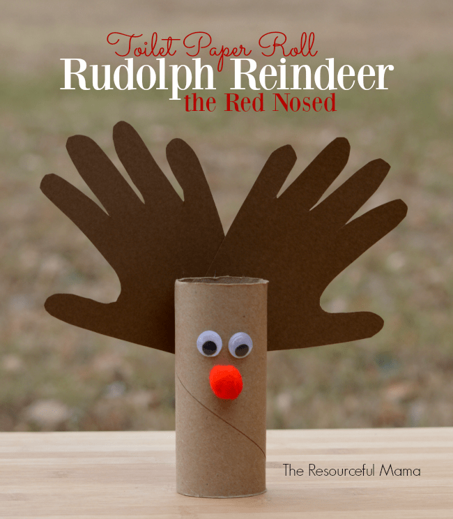 Toilet roll and handprint reindeer