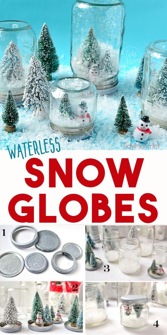 Upside down jar waterless snow globes
