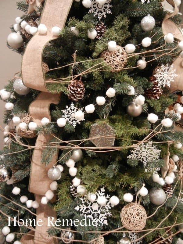 Vintage inspired Christmas cotton ball garland