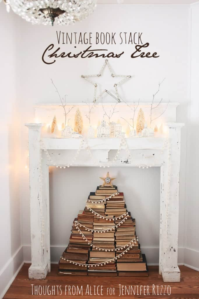 Vintage stacked book Christmas tree